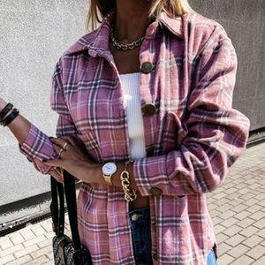 New Plaid Stripe Oversized Flannel Shirt Jacket